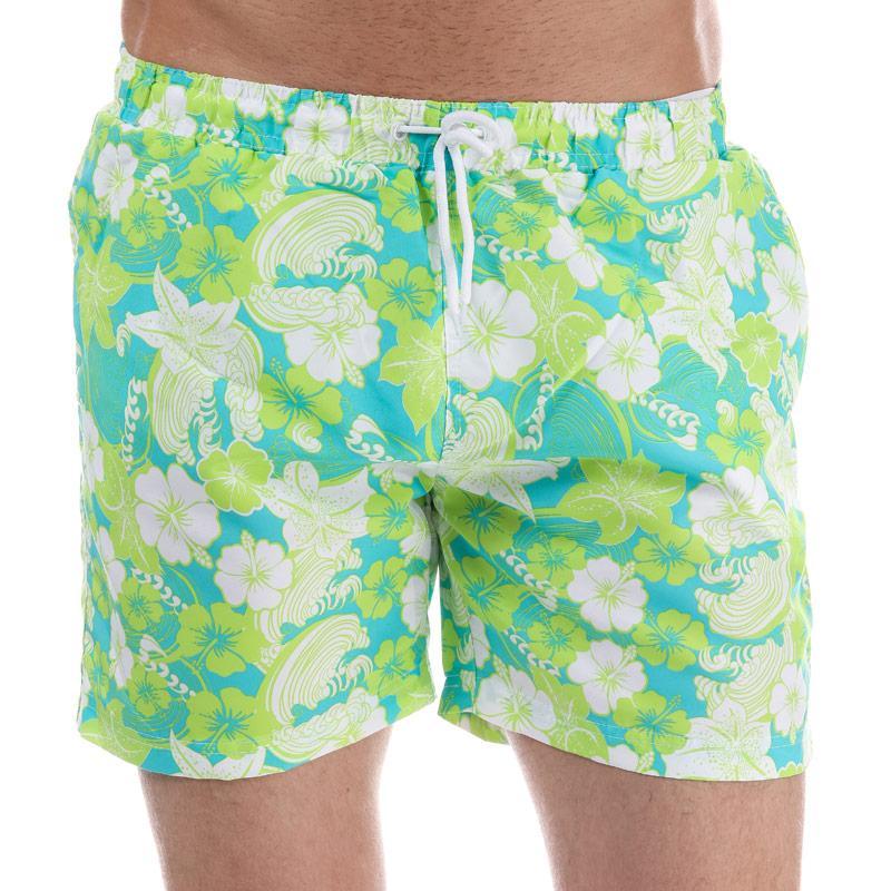 Henleys Mens Flowers Patterned Swim Short Green