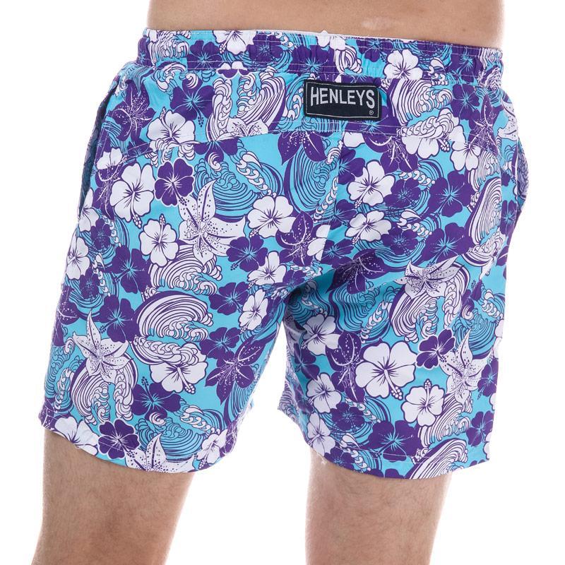 Henleys Mens Flowers Patterned Swim Short Purple