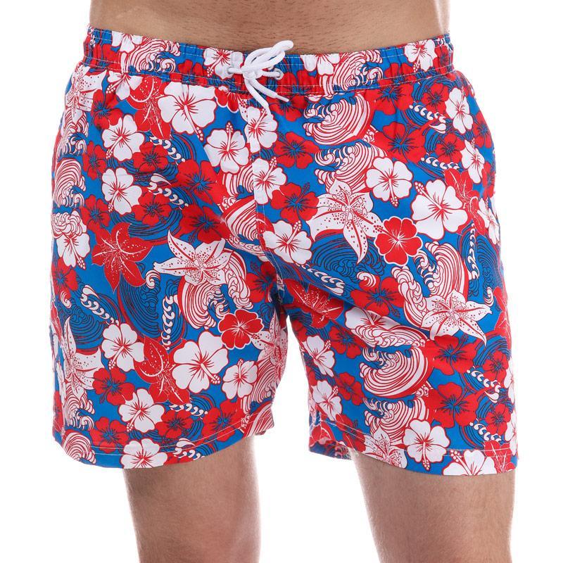 Henleys Mens Flowers Patterned Swim Short Red