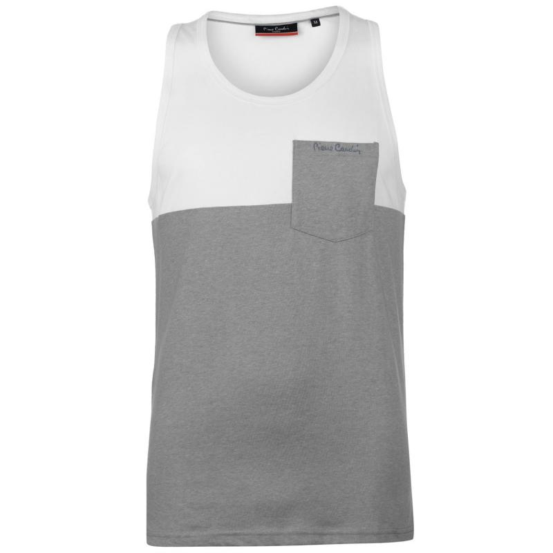 Tílko Pierre Cardin Cut and Sew Marl Vest Mens White/Grey M