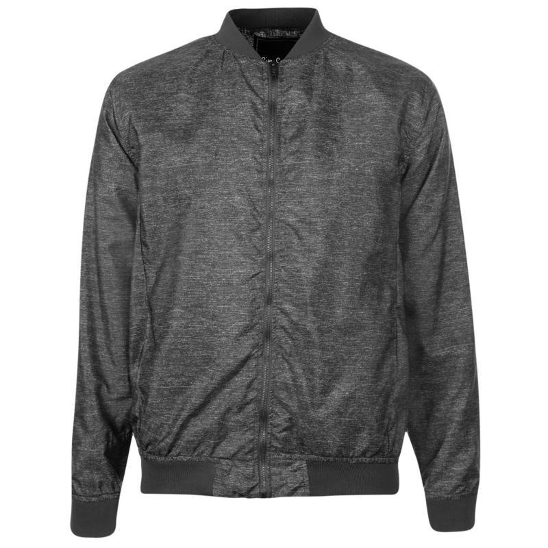 Pierre Cardin Slub Bomber Jacket Mens Grey