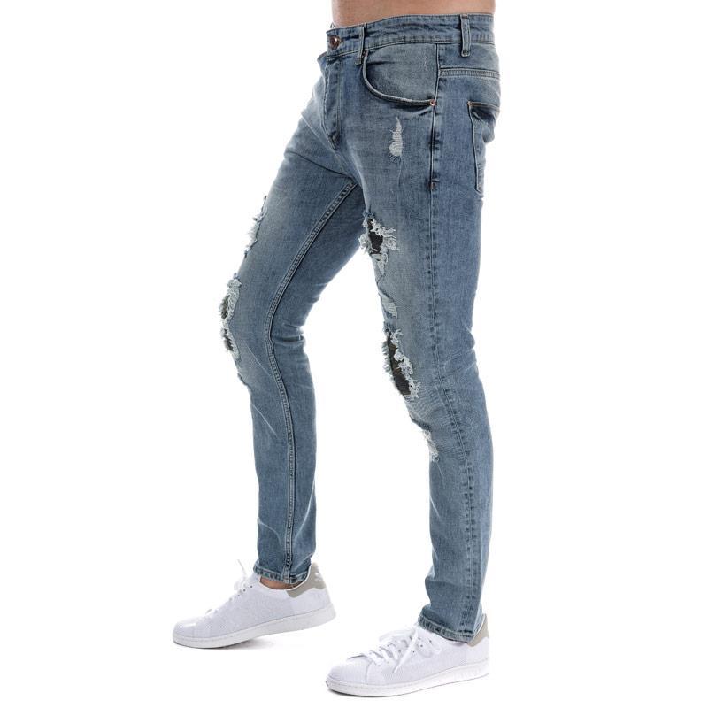Eto Mens EM605 Slim Fit Jeans Light Blue
