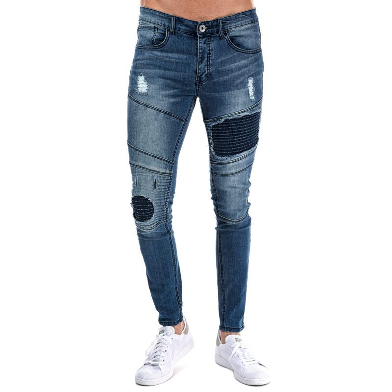 Eto Mens EM608 Ripped Slim Fit Jeans Denim