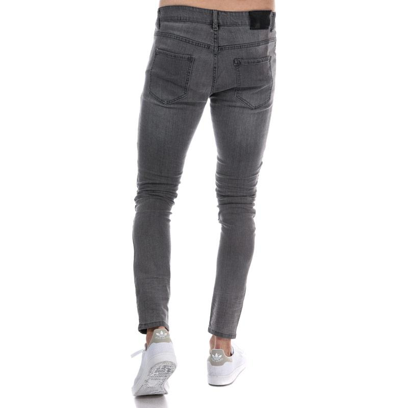 Eto Mens EM608 Ripped Slim Fit Jeans Grey