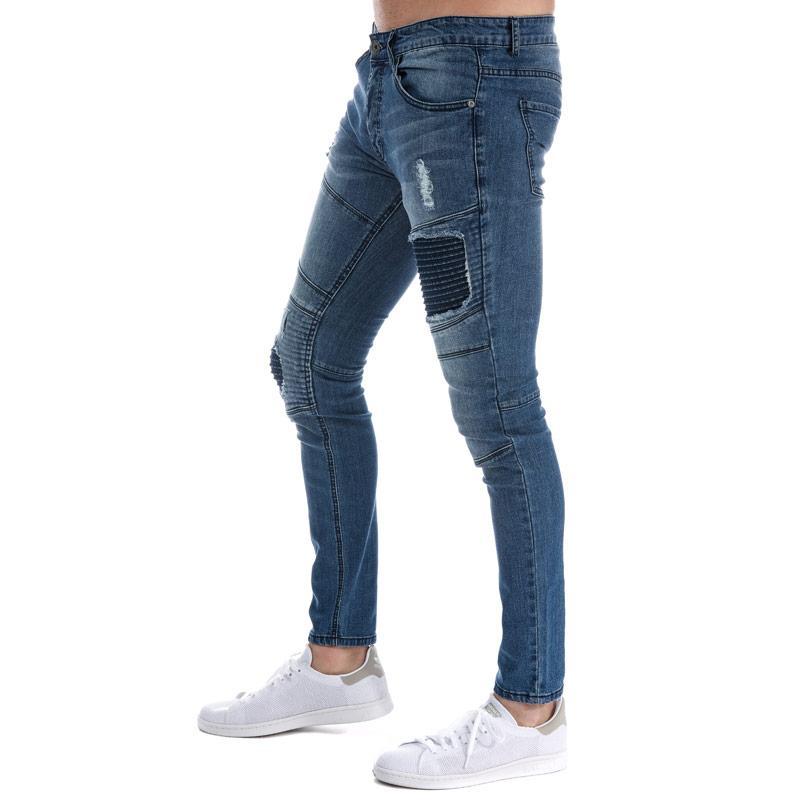 Eto Mens EM608 Ripped Slim Fit Jeans Denim