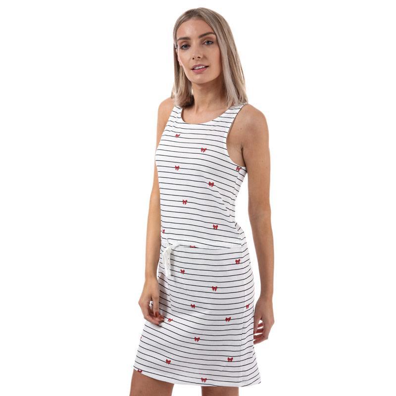 Šaty Only Womens May Sleeveless Bow Dress White Navy