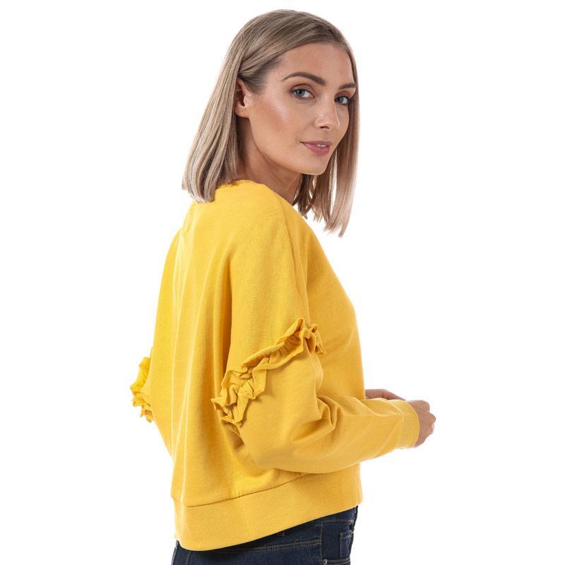 Mikina Only Womens Tony Frill Sleeve Crew Neck Sweatshirt Yellow