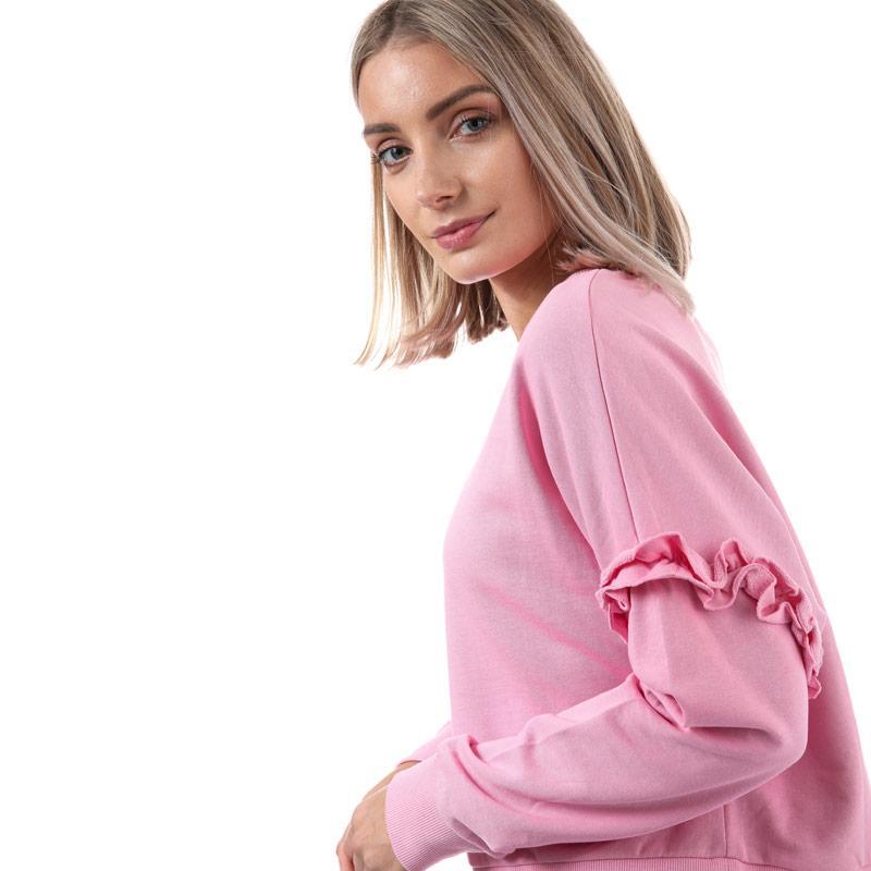 Mikina Only Womens Tony Frill Sleeve Crew Neck Sweatshirt Black