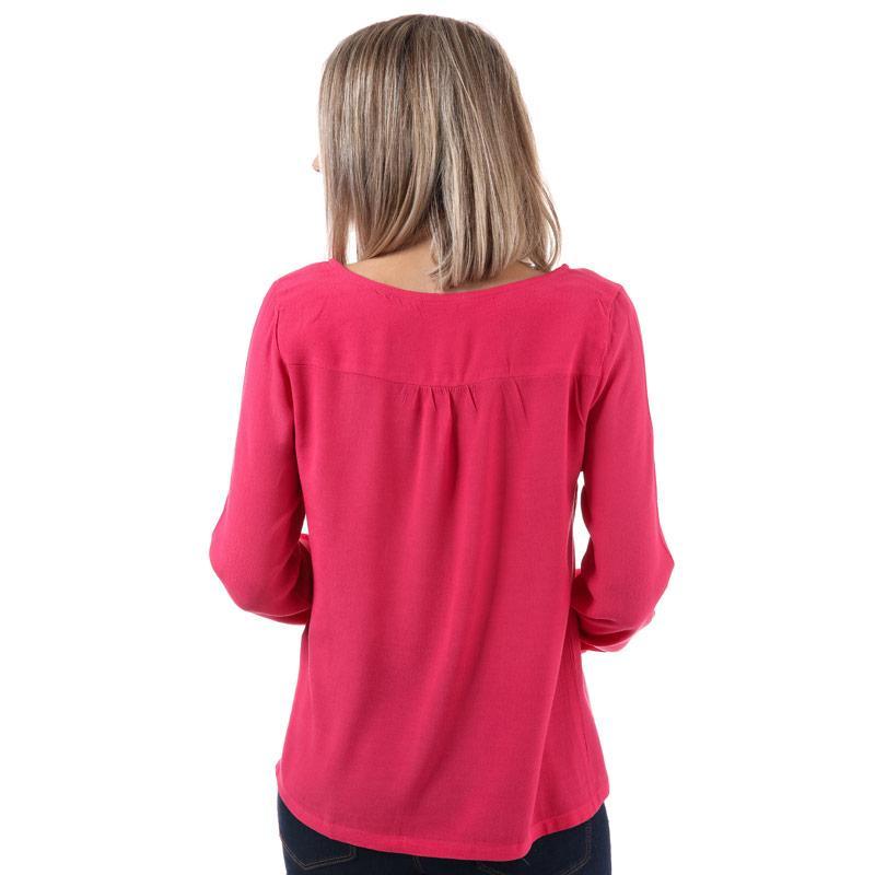 Yumi Womens Zip Front Blouse Pink
