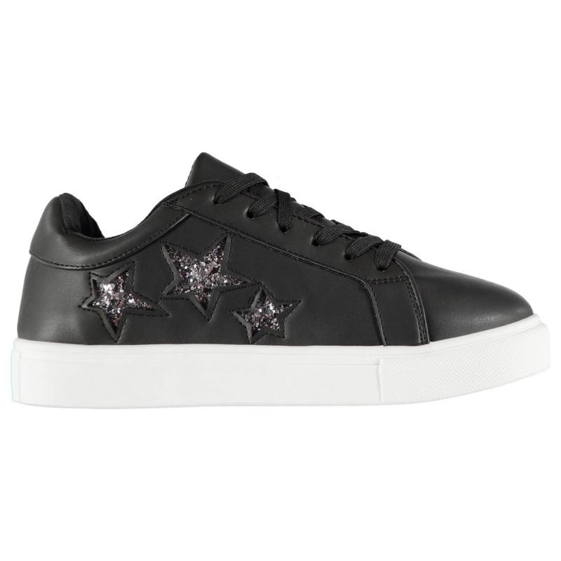 Rock and Rags Glitter Star Trainers Ladies Black