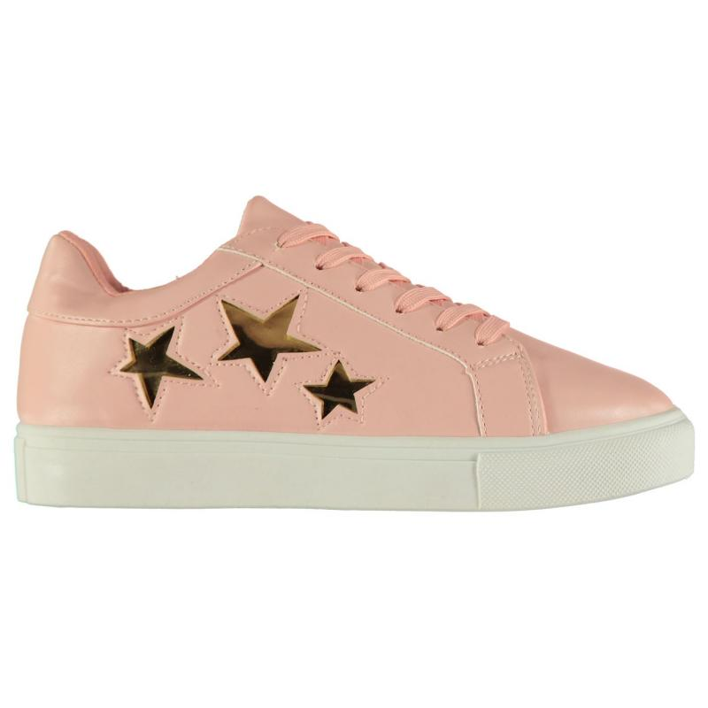 Rock and Rags Glitter Star Trainers Ladies Pink
