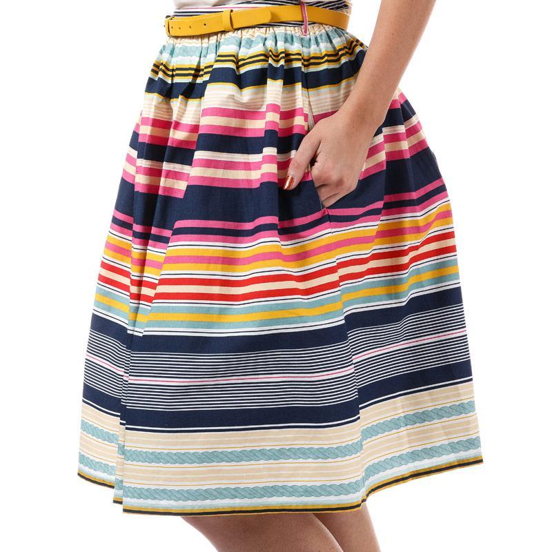 Sukně Yumi Womens Stripe Belted Skirt Multi colour
