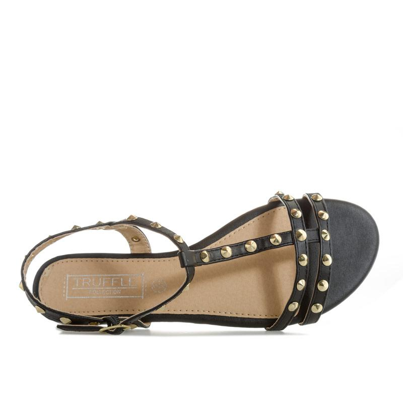 Boty Truffle Collection Womens Studded Narrow Strap Sandals Black
