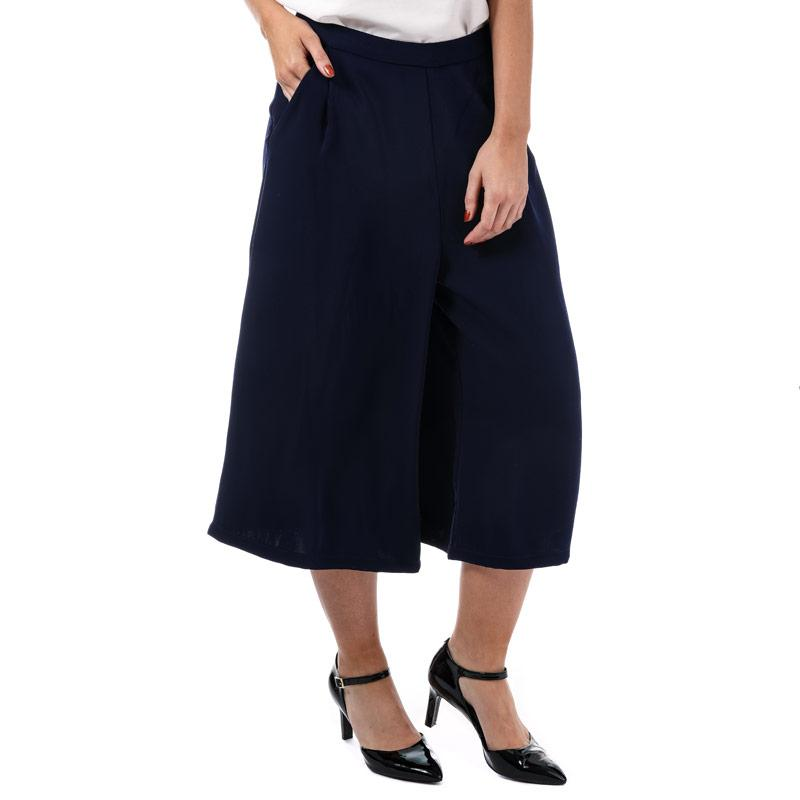 Kalhoty Yumi Womens Wide Leg Crop Trousers Dark Blue