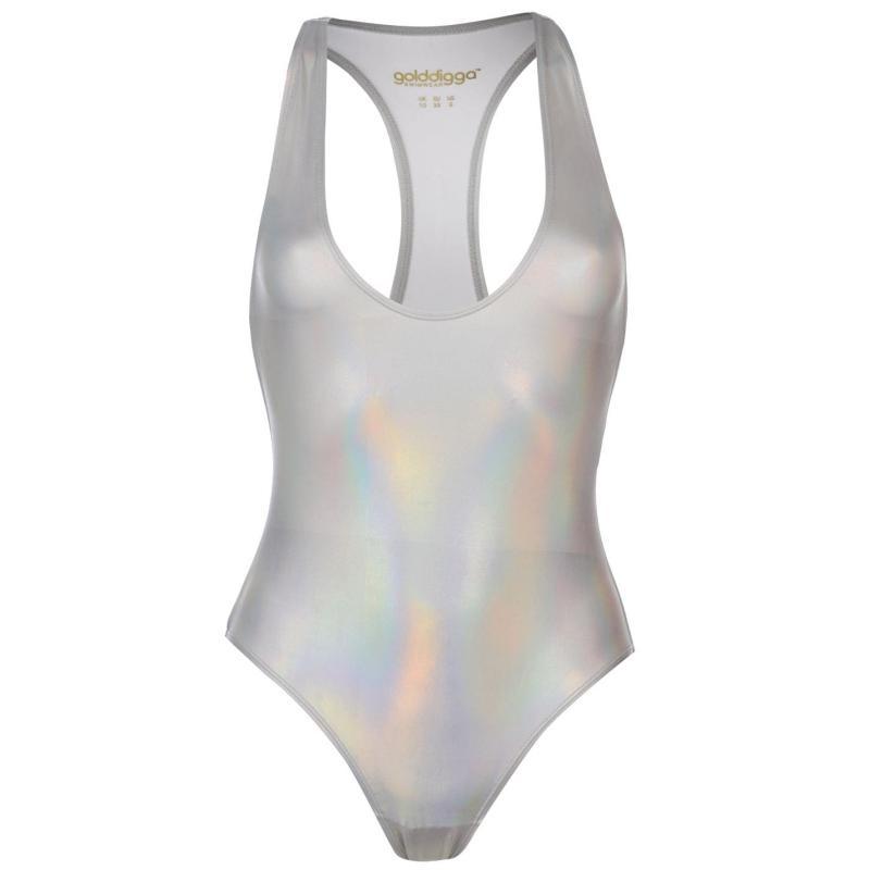 Plavky Golddigga Shimmer Swimsuit Ladies Silver