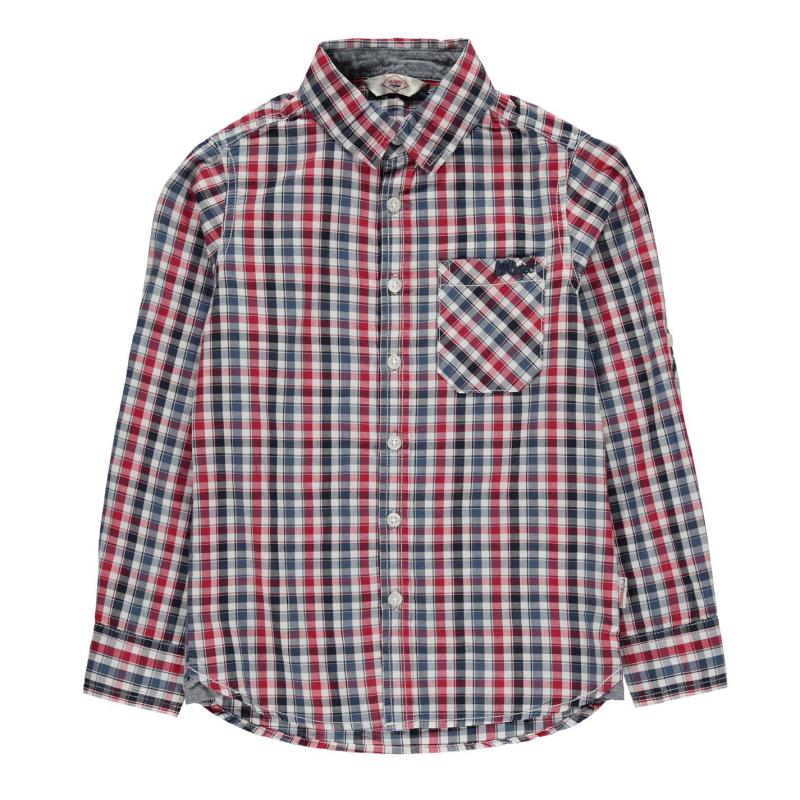 Košile Lee Cooper Long Sleeve Checked Shirt Junior Boys Blu/Red/Wht/Nav