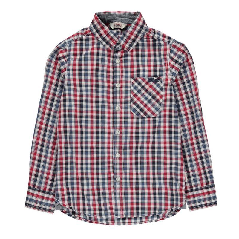 Košile Lee Cooper Long Sleeve Checked Shirt Junior Boys White/Navy/Blue