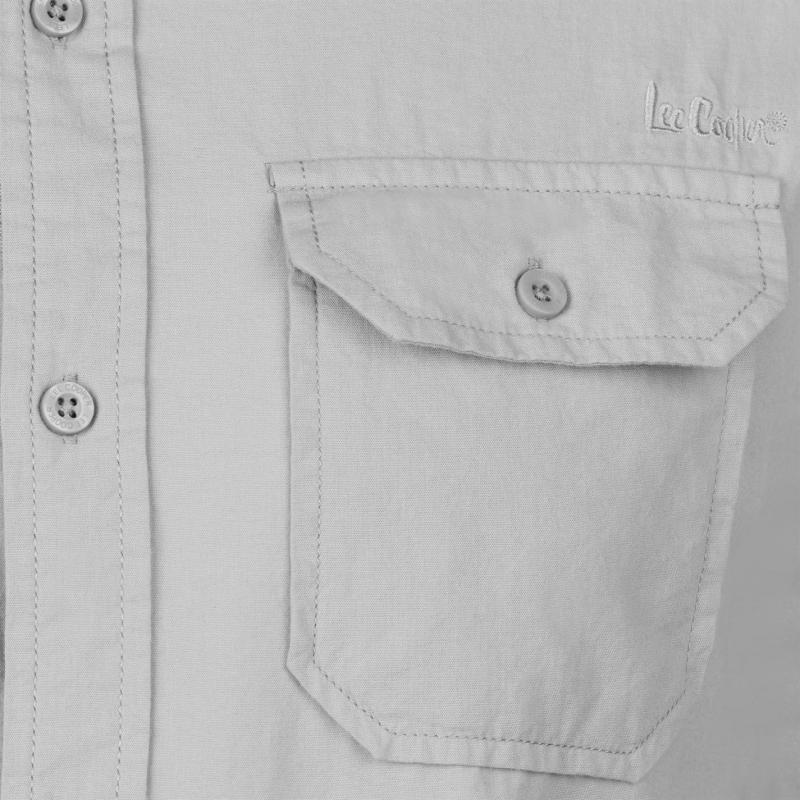 Lee Cooper Long Sleeve Fashion Shirt Mens Charcoal
