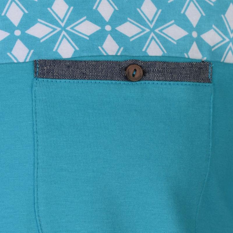 Pierre Cardin AOP Chest Print Polo Shirt Mens Turquoise