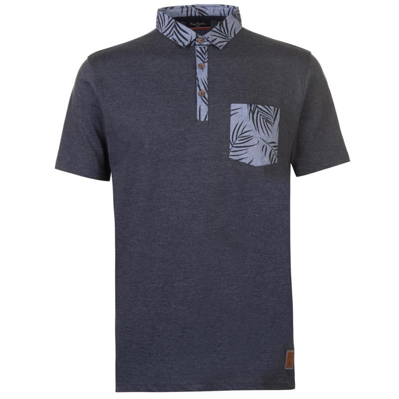 Pierre Cardin Printed Pocket Jersey Polo Shirt Mens Denim Marl