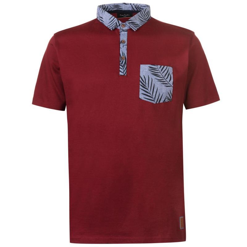 Pierre Cardin Printed Pocket Jersey Polo Shirt Mens Bright Blue