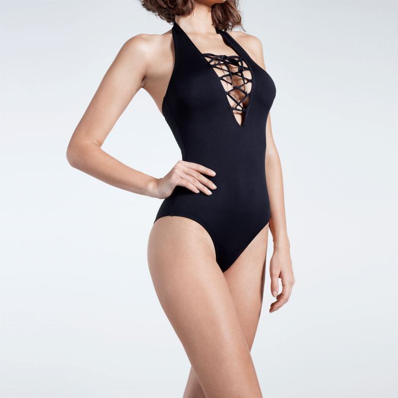 Plavky Firetrap Blackseal Cross Front Swimsuit Black