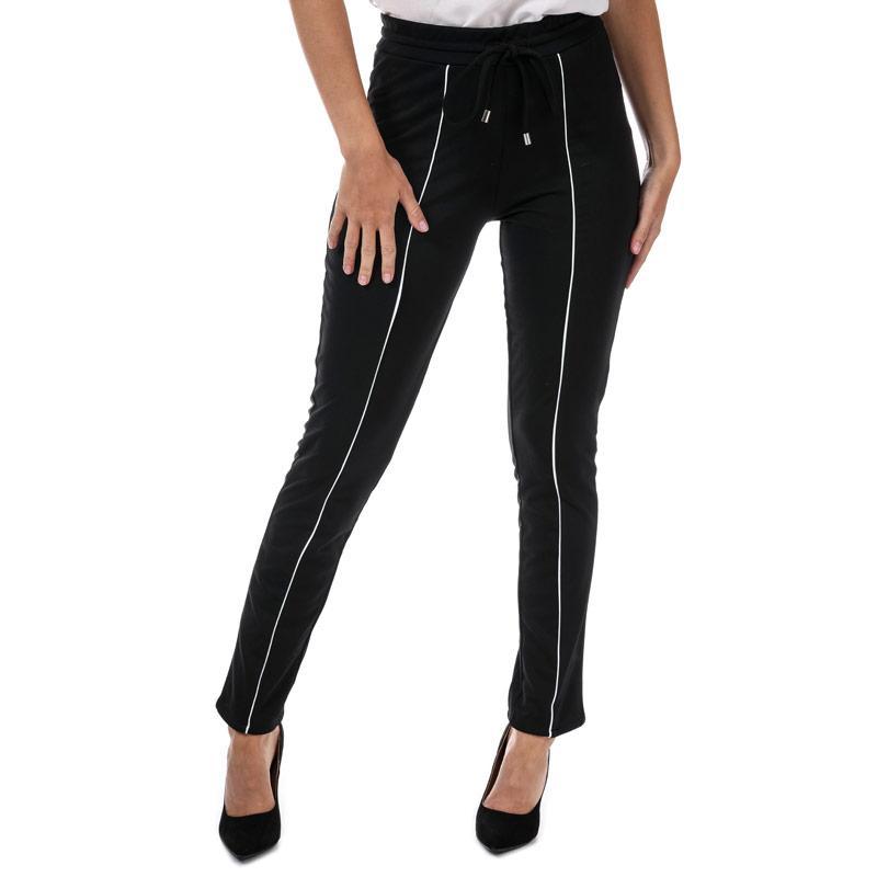 Sportovní kalhoty Brave Soul Womens Contrast Pipe Detail Jog Pants Black-White