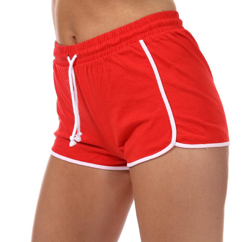 Brave Soul Womens Contrast Trim Shorts red white
