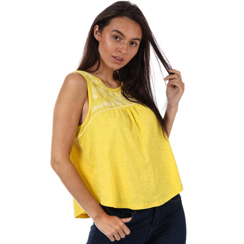 Brave Soul Womens Embroidered Top Yellow