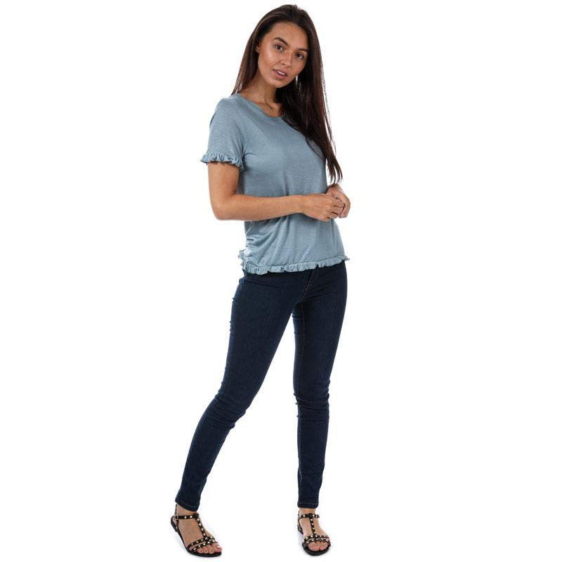 Brave Soul Womens Frill Hem T-Shirt Blue
