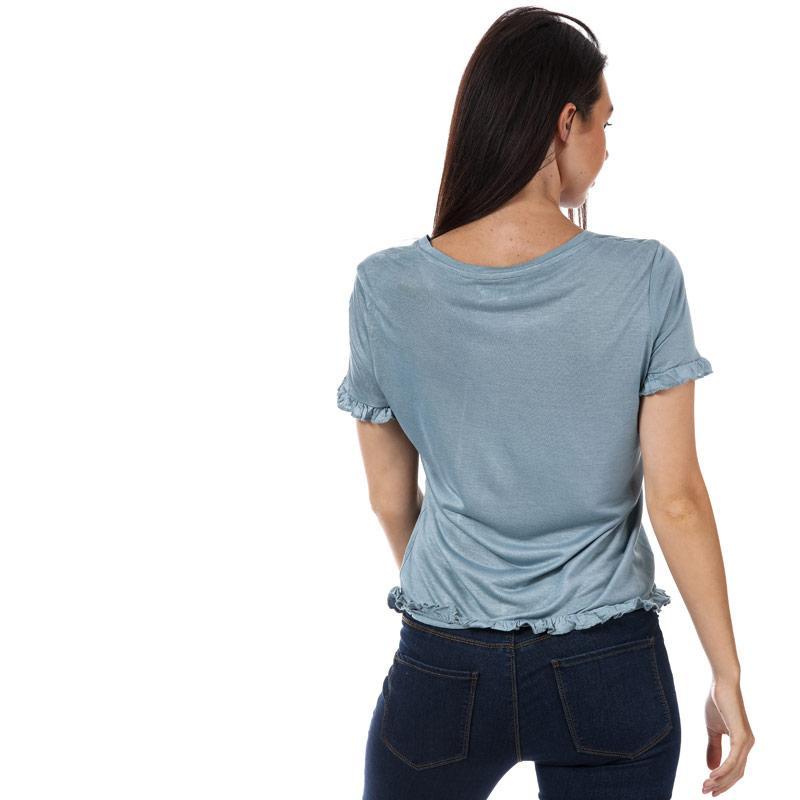Brave Soul Womens Frill Hem T-Shirt Cream
