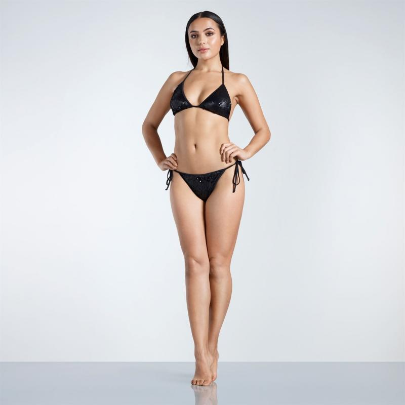 Plavky Golddigga Sequin Bikini Bottoms Ladies Black