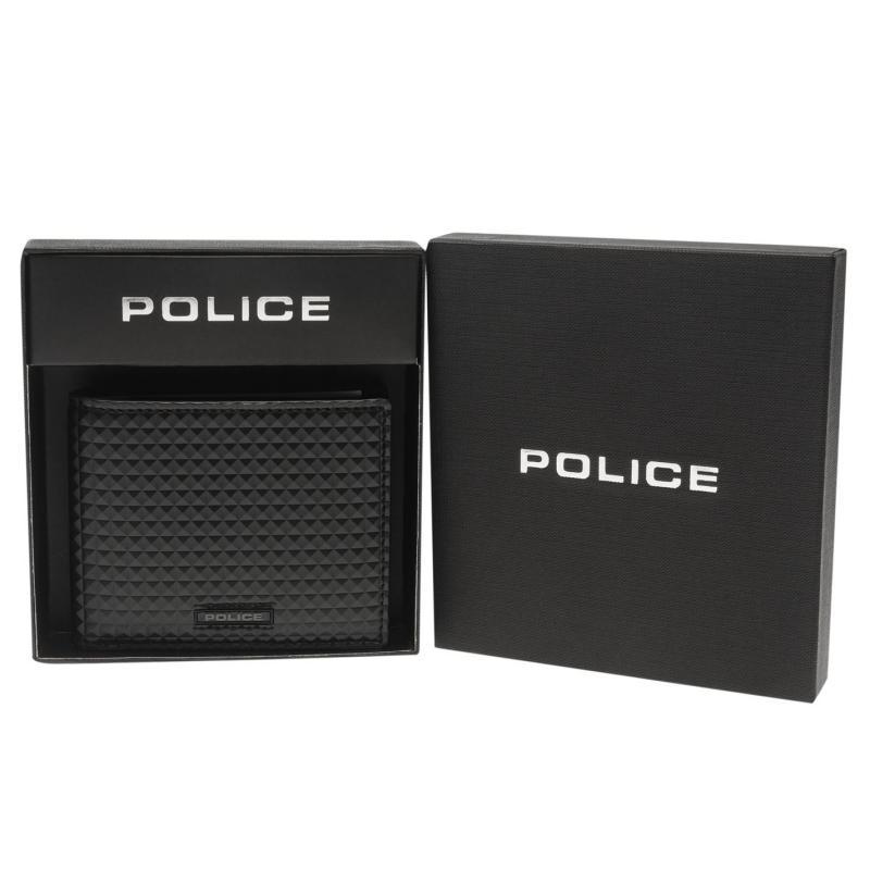 Police Pyramid Bi Fold Coin Wallet Black