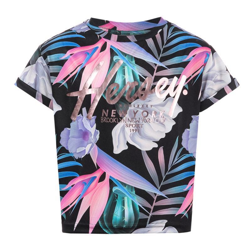 Beck And Hersey Junior Girls Floral Crop T-Shirt Black