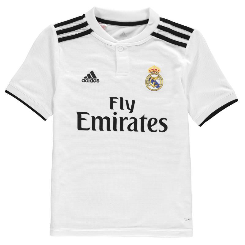 Adidas Real Madrid Home Shirt 2018 2019 Junior White/Black