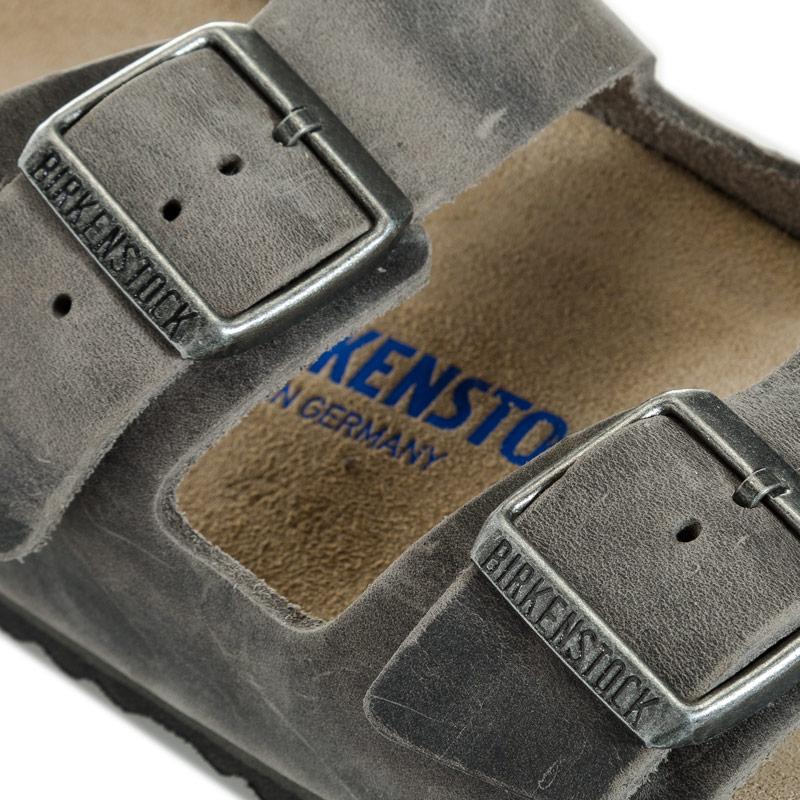 Birkenstock Mens Arizona Soft Footbed Narrow Width Sandals Grey