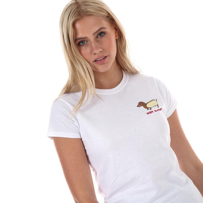 Daisy Street Womens Hot Dawg T-Shirt White