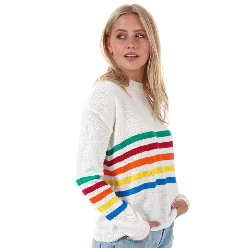 Svetr Daisy Street Womens Rainbow Stripe Jumper Cream