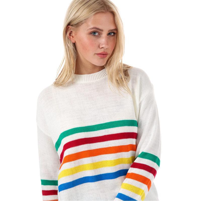 Svetr Daisy Street Womens Rainbow Stripe Jumper Cream