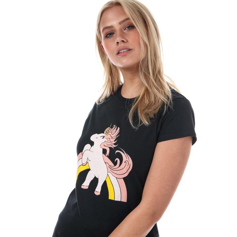 Daisy Street Womens Unicorn T-Shirt Black