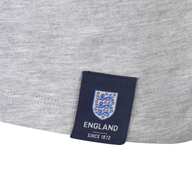 Tričko FA England 3 Lions T Shirt Mens Grey