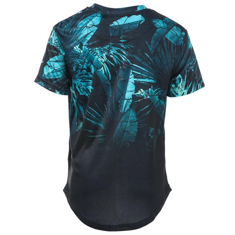 Tričko Beck And Hersey Junior Boys Palm Print T-Shirt Black