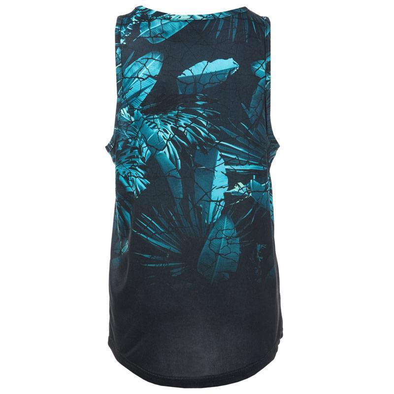 Tričko Beck And Hersey Junior Boys Palm Print Vest Black