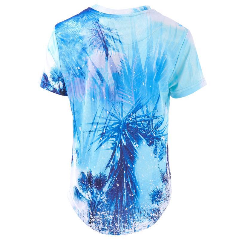 Tričko Beck And Hersey Junior Boys Palm Tree Print T-Shirt Blue