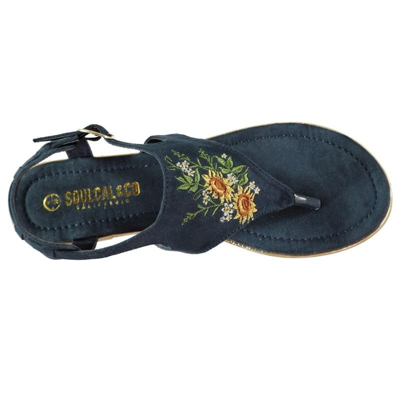 Boty SoulCal Embroidered Ladies Sandals Navy