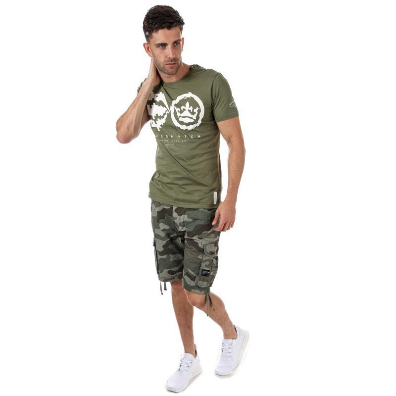 Tričko Crosshatch Mens Unsteady T-Shirt Khaki