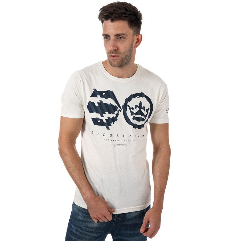 Tričko Crosshatch Mens Unsteady T-Shirt Off White