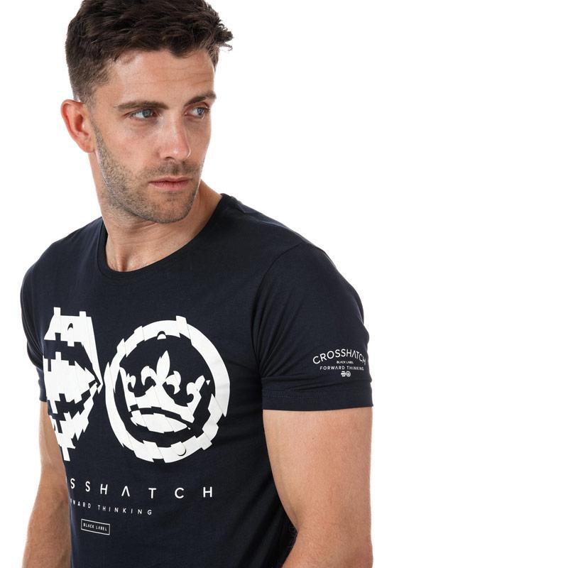 Tričko Crosshatch Mens Unsteady T-Shirt Navy