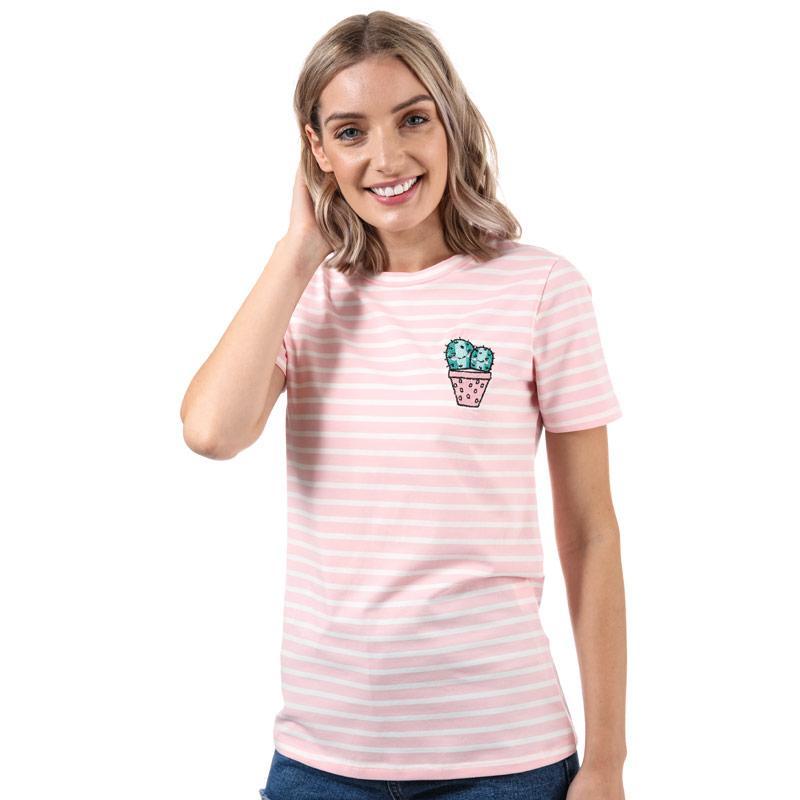 Glamorous Womens Cactus Stripe T-Shirt Pink