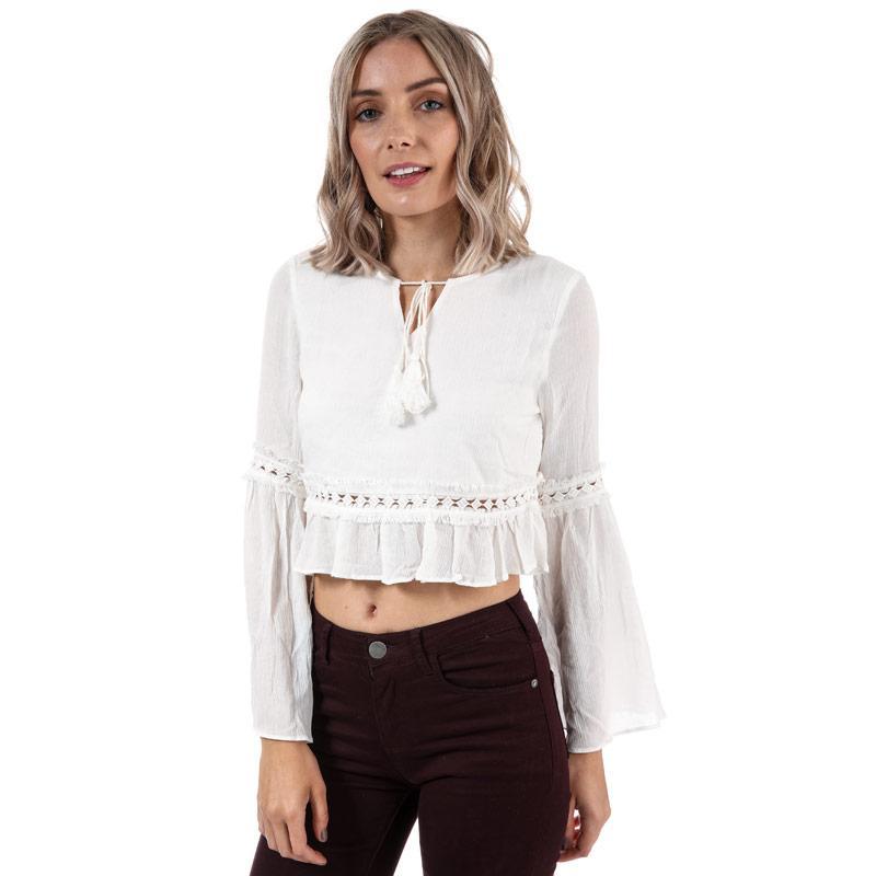 Glamorous Womens Cropped Blouse White